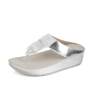 CHA CHA TM FRINGE TOE-THONG SANDALS METALLIC PU - SILVER ES