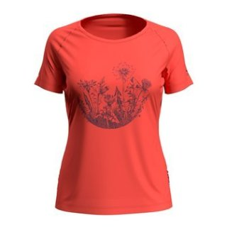T SHIRT S/S CREW NECK CONCORD - HOT CORAL   FLOWER CIRCLE PRINT SS20