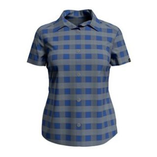 BLOUSE S/S MYTHEN - AMPARO BLUE   GREY MELANGE   CHECK