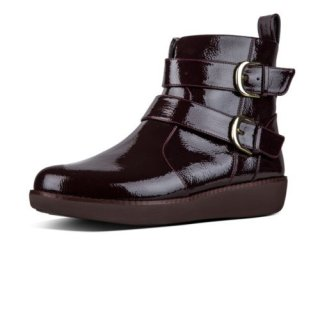 LAILA DOUBLE BUCKLE CRINKLE PATENT - BERRY