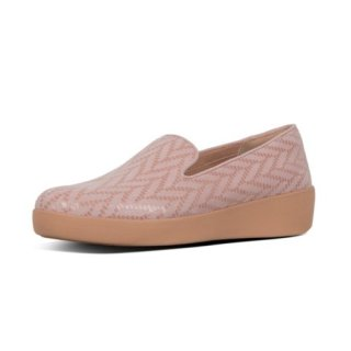 AUDREY CHEVRON-SUEDE - LOAFERS - OYSTER PINK
