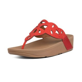 ELORA CRYSTAL TOE THONGS - RED