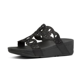 ELORA CRYSTAL SLIDES - ALL BLACK