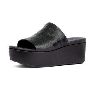 ELOISE CROC PRINT WEDGE SLIDES - ALL BLACK
