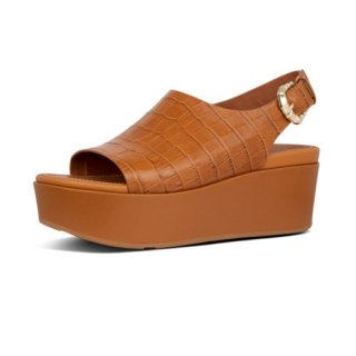 ELOISE CROC PRINT WEDGE BACK STRAP SANDALS - LIGHT TAN