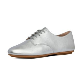 ADEOLA LEATHER LACE UP DERBYS - SILVER