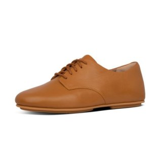 ADEOLA LEATHER LACE UP DERBYS - LIGHT TAN
