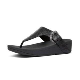 LOTTIE CROCO TOE THONGS - ALL BLACK