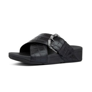 LULU CROCO SLIDES - ALL BLACK
