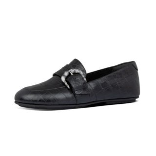 LISBET CROCO LOAFERS - ALL BLACK