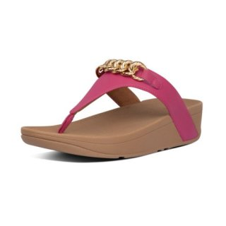 LOTTIE CHAIN TOE THONGS - FUCHSIA