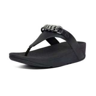 LOTTIE CHAIN TOE THONGS - ALL BLACK