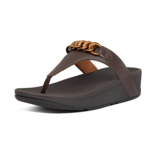 LOTTIE CHAIN TOE THONGS - CHOCOLATE BROWN