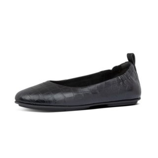 ALLEGRO CROCO BALLERINAS - ALL BLACK