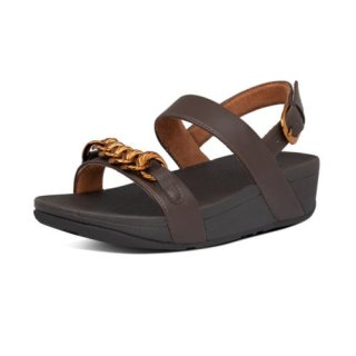 LOTTIE CHAIN BACK STRAP SANDALS - CHOCOLATE BROWN