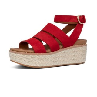 ELOISE BACK STRAP ESPADRILLE WEDGES - RED