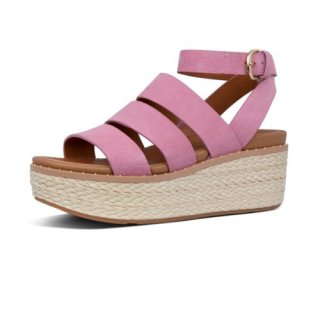 ELOISE BACK STRAP ESPADRILLE WEDGES - HEATHER PINK