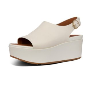 ELOISE BACK STRAP LEATHER WEDGES - STONE