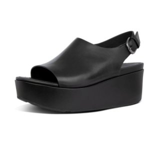 ELOISE BACK STRAP LEATHER WEDGES - ALL BLACK