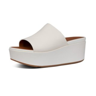 ELOISE LEATHER WEDGES - STONE