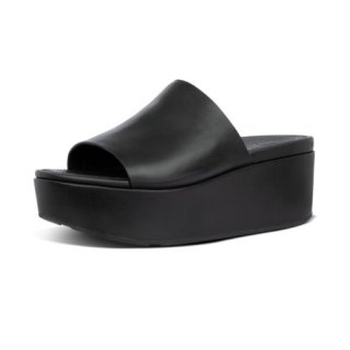 ELOISE LEATHER WEDGES - ALL BLACK