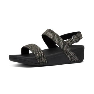 LOTTIE GLITTER STRIPE BACK STRAP SANDALS - ALL BLACK