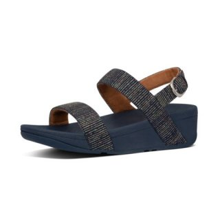 LOTTIE GLITTER STRIPE BACK STRAP SANDALS - MIDNIGHT NAVY