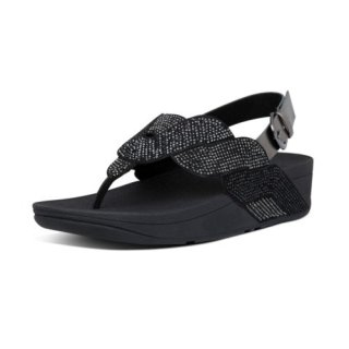 PAISLEY ROPE BACK STRAP SANDALS - ALL BLACK