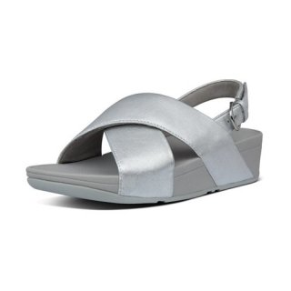 LULU LEATHER BACK-STRAP SANDALS - SILVER