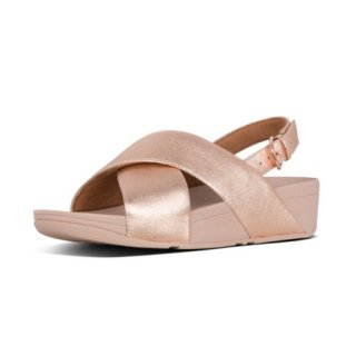 LULU LEATHER BACK-STRAP SANDALS - ROSE GOLD