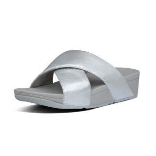 LULU CROSS SLIDE SANDALS LEATHER - SILVER