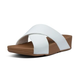 LULU CROSS SLIDE SANDALS LEATHER - URBAN WHITE