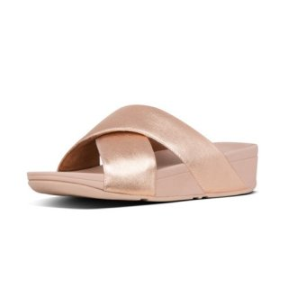 LULU CROSS SLIDE SANDALS LEATHER - ROSE GOLD