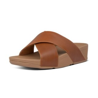 LULU CROSS SLIDE SANDALS LEATHER - LIGHT TAN