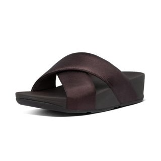 LULU CROSS SLIDE SANDALS LEATHER - CHOCOLATE METALLIC