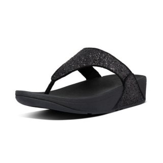 LULU GLITTER TOE THONGS - BLACK GLITTER