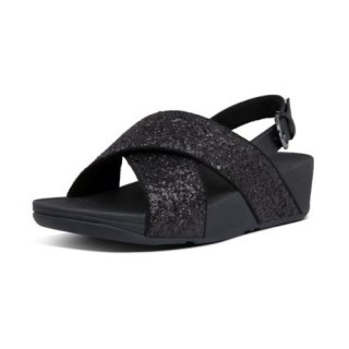 LULU GLITTER BACK STRAP SANDALS - BLACK GLITTER