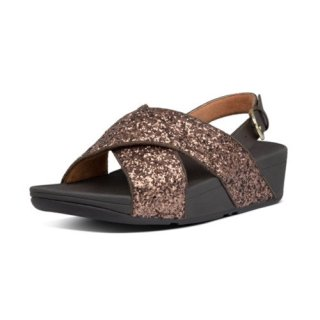 LULU GLITTER BACK STRAP SANDALS - CHOCOLATE METALLIC