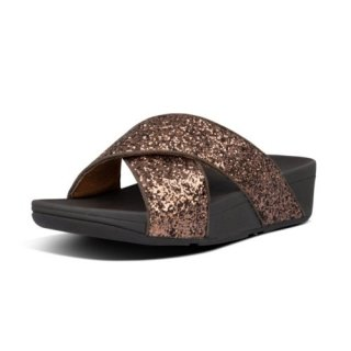 LULU GLITTER SLIDES - CHOCOLATE METALLIC