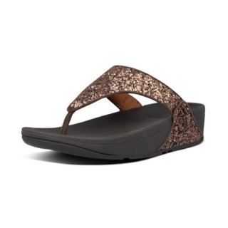 LULU GLITTER TOE THONGS - CHOCOLATE METALLIC