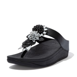 FINO FLORAL CLUSTER  TOE POST SANDALS - ALL BLACK