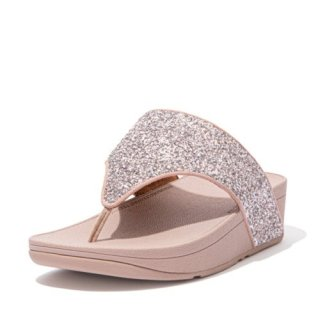 OLIVE GLITTER MIX TOE POST SANDALS - CORAL PINK