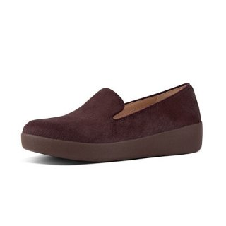 AUDREY FAUX PONY SMOKING SLIPPERS - BERRY