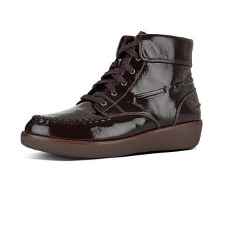 GIANINI LACE UP CRINKLE PATENT - BERRY