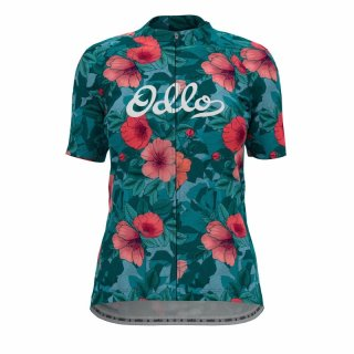 STAND UP COLLAR S/S FULL ZIP ESSENTIAL - BALSAM   FLOWER GRAPHIC SS21